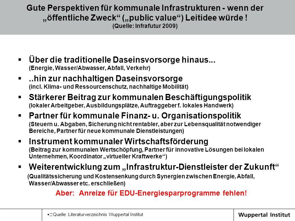 Quelle: Literaturverzeichnis Wuppertal Institut Gute Perspektiven für kommunale Infrastrukturen - wenn der öffentliche Zweck (public value) Leitidee w