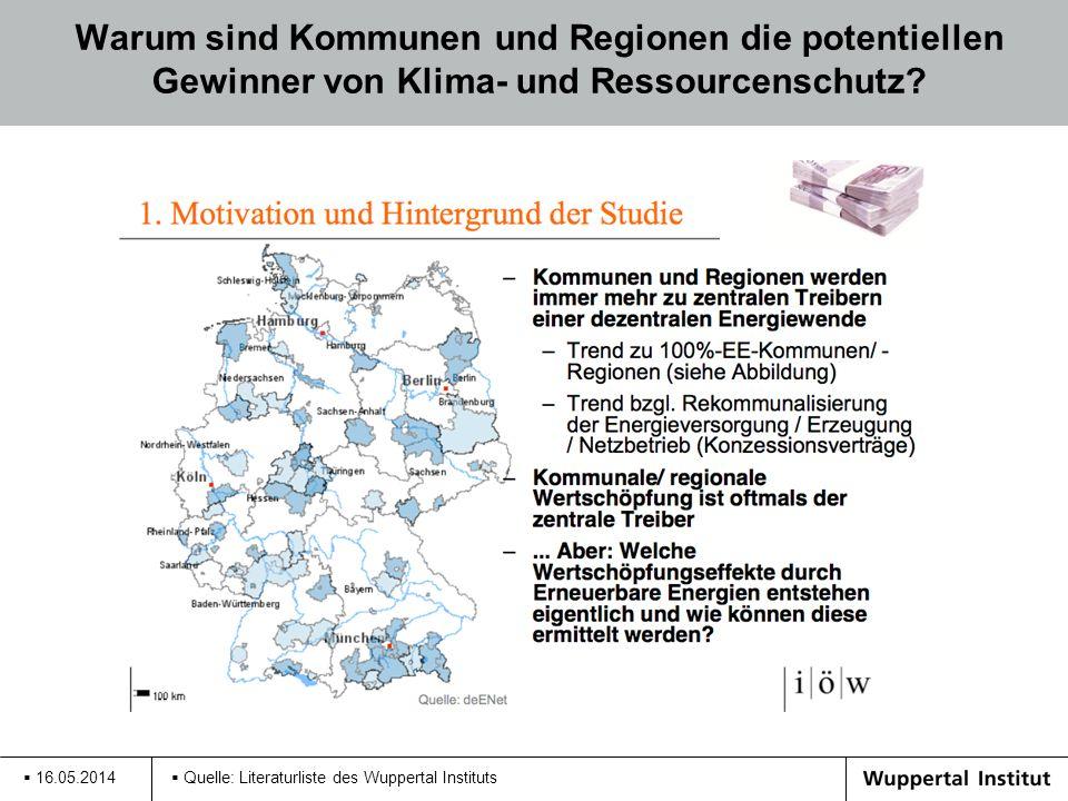 Warum sind Kommunen und Regionen die potentiellen Gewinner von Klima- und Ressourcenschutz? 16.05.2014 Quelle: Literaturliste des Wuppertal Instituts