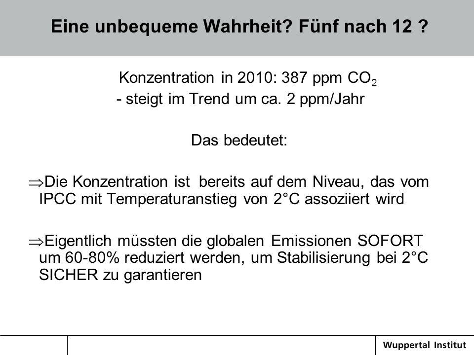 Notwendige THG-Emissionsminderung/a für eine maximale Temperaturerhöhung von 2 O C – ab 2020 nur noch mit negativen Emissionen (CCS+Biomasse) möglich (Quelle: Meinshausen 2009) Global 750 Gt CO2 in 2010-2050; 67% Chance für 2°C Quelle: WBGU 2009 <-
