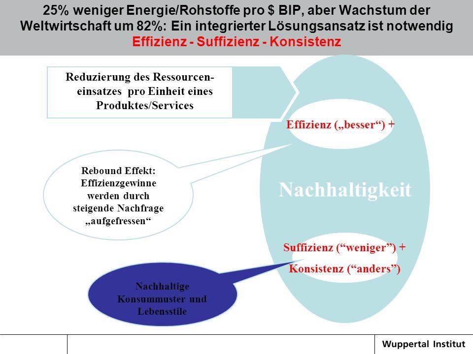 Nachhaltigkeit Suffizienz (weniger) + Konsistenz (anders) 25% weniger Energie/Rohstoffe pro $ BIP, aber Wachstum der Weltwirtschaft um 82%: Ein integr