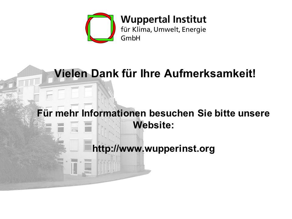 Vielen Dank für Ihre Aufmerksamkeit! Für mehr Informationen besuchen Sie bitte unsere Website: http://www.wupperinst.org