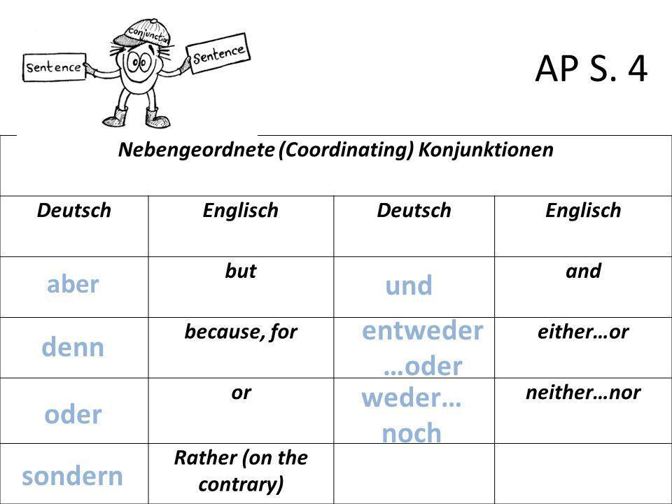 Nebengeordnete (Coordinating) Konjunktionen DeutschEnglischDeutschEnglisch butand because, foreither…or orneither…nor Rather (on the contrary) AP S. 4