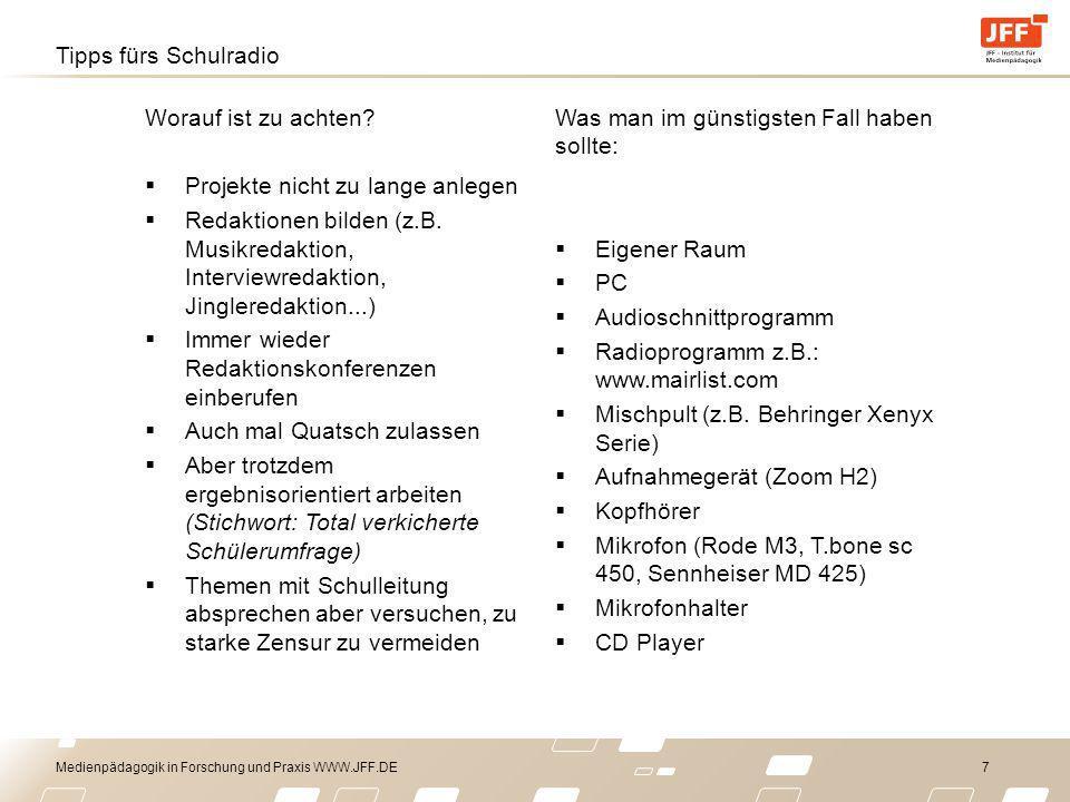 Medienpädagogik in Forschung und Praxis WWW.JFF.DE 8 Kostenlose Audioschnittsoftware Audacity Goldwave Converter: Format Factory Musik: Wenn es ins Internet soll: AM BESTEN SELBER MACHEN.