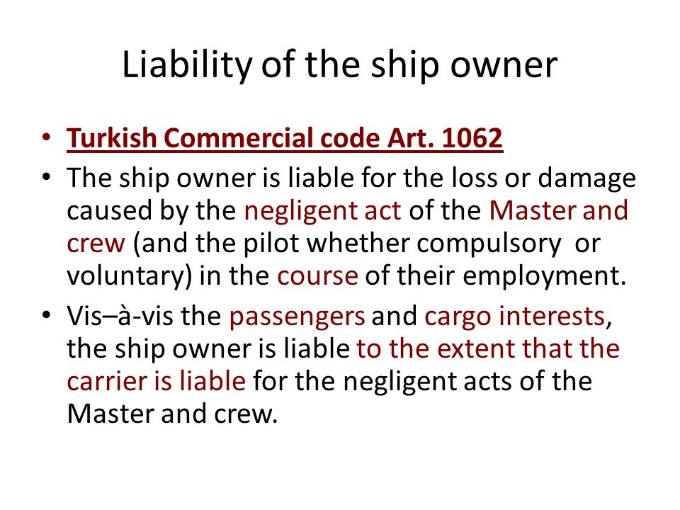 Lex specialis OR 55 (employers liability) employment –no fault – exculpation Aim: he who benefits from the services of another, must bear the risk of damages caused by that other person Ship owners liability employment –fault of the employee – no exculpation Aim: to remedy the financial insufficiency of the employee (crew member) no intention to exclude liabilities arising out of the general provisions.