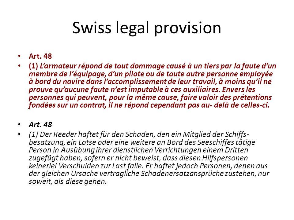 Nature of the liability Adjektizicshe Haftung: Negligence of the ship owner: No.