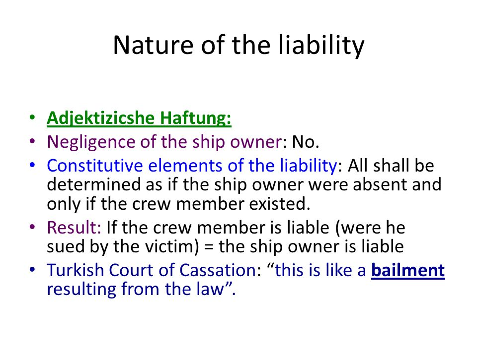 Nature of the liability Adjektizicshe Haftung: Negligence of the ship owner: No.