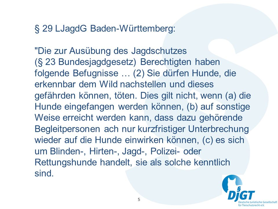 5 § 29 LJagdG Baden-Württemberg: