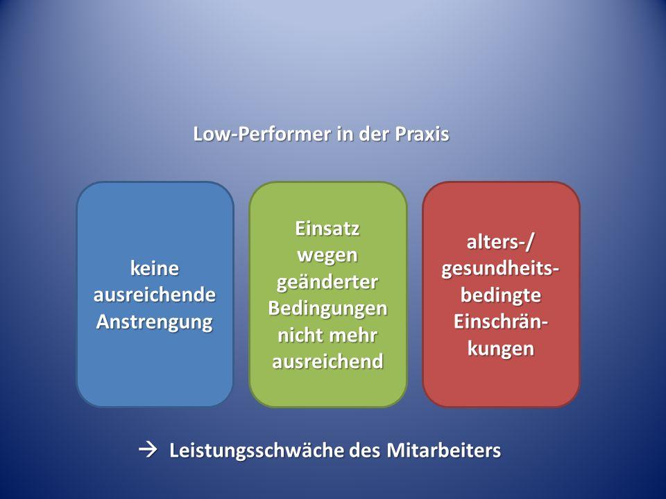 Low-Performer in der Praxis keine ausreichende Anstrengung Einsatz wegen geänderter Bedingungen nicht mehr ausreichend alters-/ gesundheits- bedingte