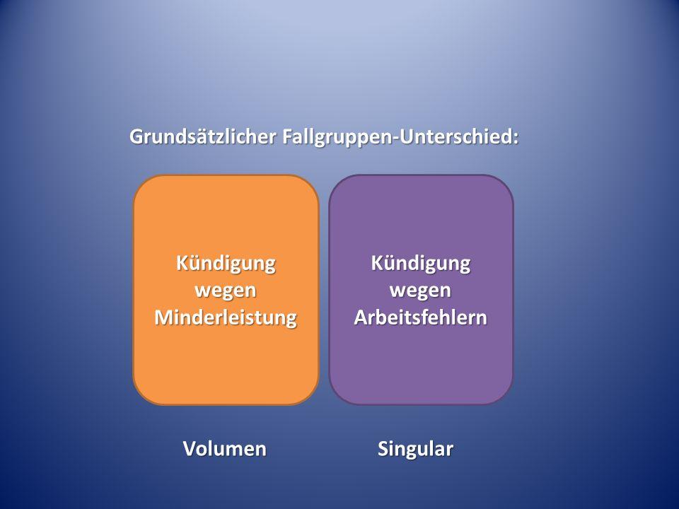 Grundsätzlicher Fallgruppen-Unterschied: Kündigung wegen Minderleistung Kündigung wegen Arbeitsfehlern VolumenSingular
