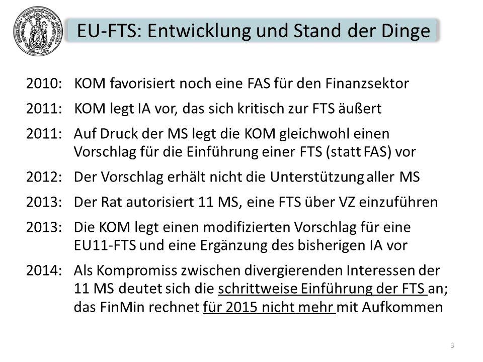 EU-FTS: Entwicklung und Stand der Dinge 2010: KOM favorisiert noch eine FAS für den Finanzsektor 2011:KOM legt IA vor, das sich kritisch zur FTS äußer