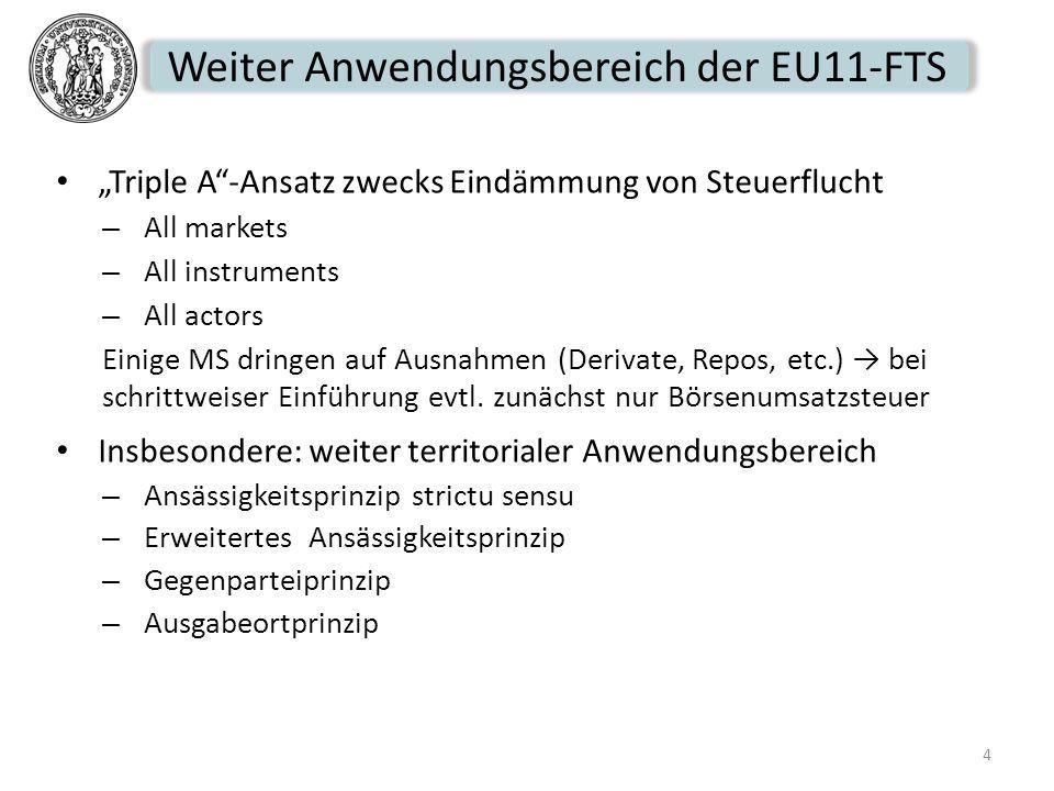 Weiter Anwendungsbereich der EU11-FTS Triple A-Ansatz zwecks Eindämmung von Steuerflucht – All markets – All instruments – All actors Einige MS dringe