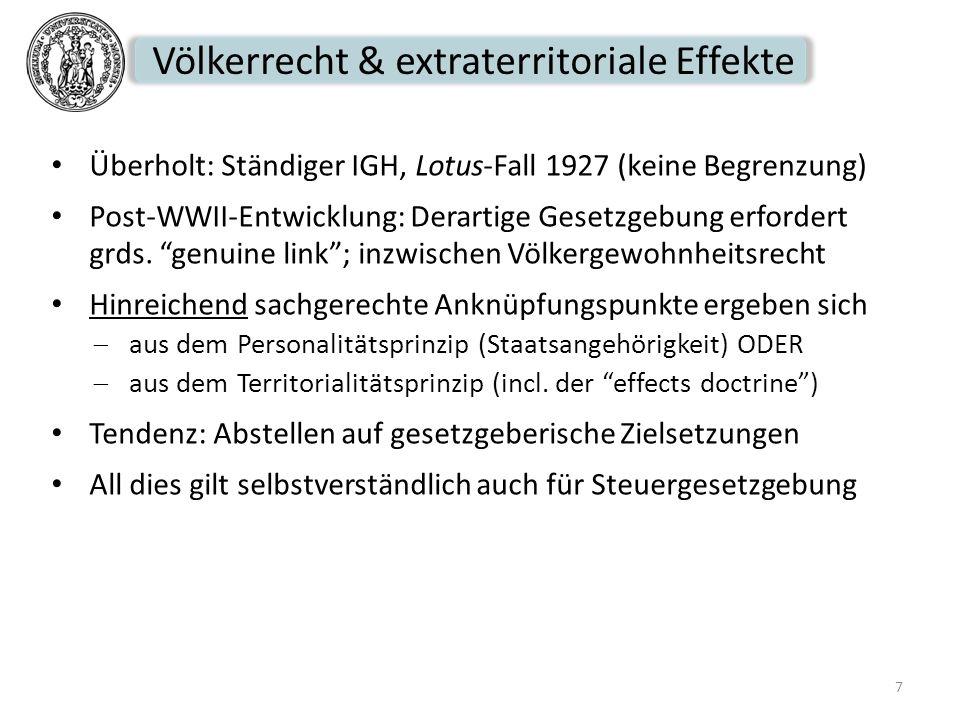 Völkerrecht & extraterritoriale Effekte Überholt: Ständiger IGH, Lotus-Fall 1927 (keine Begrenzung) Post-WWII-Entwicklung: Derartige Gesetzgebung erfo