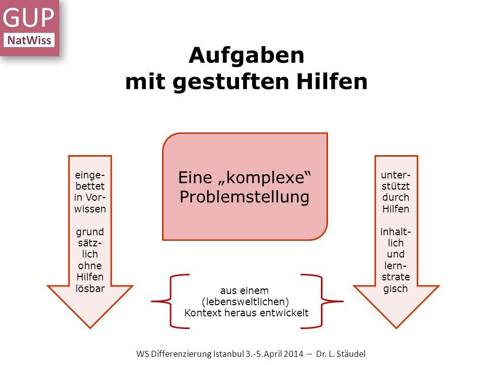 Aufgaben mit gestuften Hilfen Eine komplexe Problemstellung aus einem (lebensweltlichen) Kontext heraus entwickelt einge- bettet in Vor- wissen grund