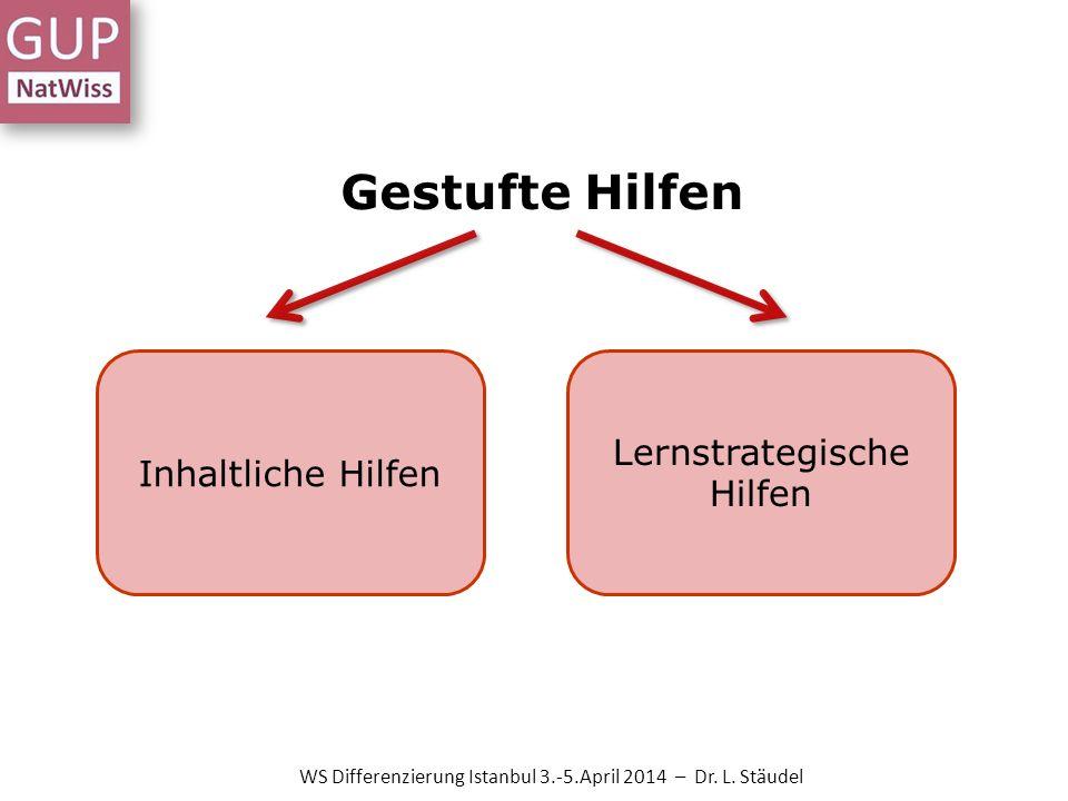 Gestufte Hilfen Inhaltliche Hilfen Lernstrategische Hilfen WS Differenzierung Istanbul 3.-5.April 2014 – Dr. L. Stäudel