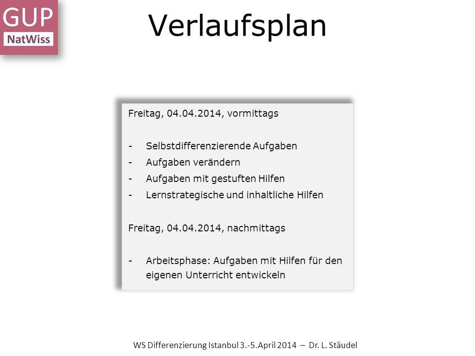 Verlaufsplan WS Differenzierung Istanbul 3.-5.April 2014 – Dr. L. Stäudel Freitag, 04.04.2014, vormittags -Selbstdifferenzierende Aufgaben -Aufgaben v