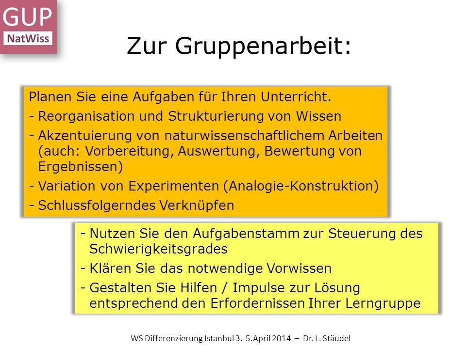 Zur Gruppenarbeit: Planen Sie eine Aufgaben für Ihren Unterricht. -Reorganisation und Strukturierung von Wissen -Akzentuierung von naturwissenschaftli