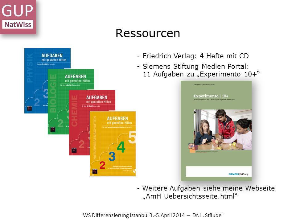 Ressourcen -Friedrich Verlag: 4 Hefte mit CD -Siemens Stiftung Medien Portal: 11 Aufgaben zu Experimento 10+ - Weitere Aufgaben siehe meine Webseite A