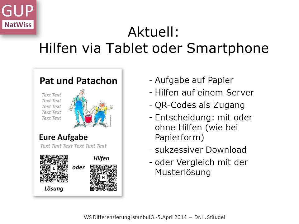 Aktuell: Hilfen via Tablet oder Smartphone -Aufgabe auf Papier -Hilfen auf einem Server -QR-Codes als Zugang -Entscheidung: mit oder ohne Hilfen (wie bei Papierform) -sukzessiver Download -oder Vergleich mit der Musterlösung WS Differenzierung Istanbul 3.-5.April 2014 – Dr.