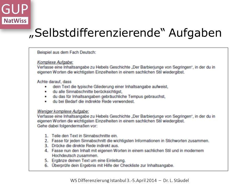 Selbstdifferenzierende Aufgaben WS Differenzierung Istanbul 3.-5.April 2014 – Dr. L. Stäudel