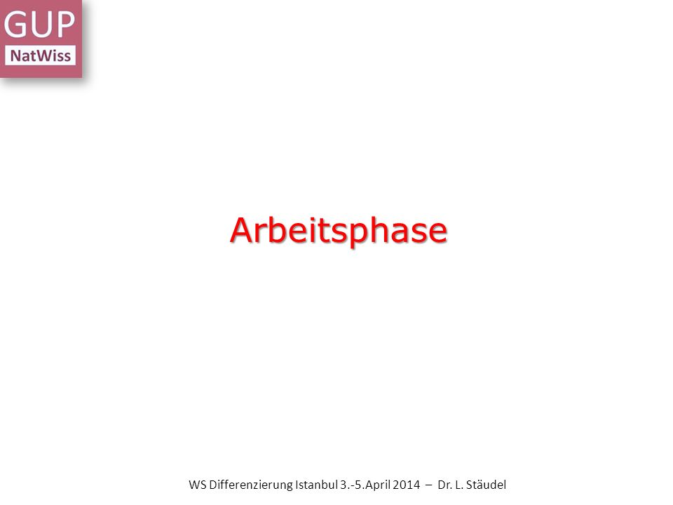 Arbeitsphase WS Differenzierung Istanbul 3.-5.April 2014 – Dr. L. Stäudel