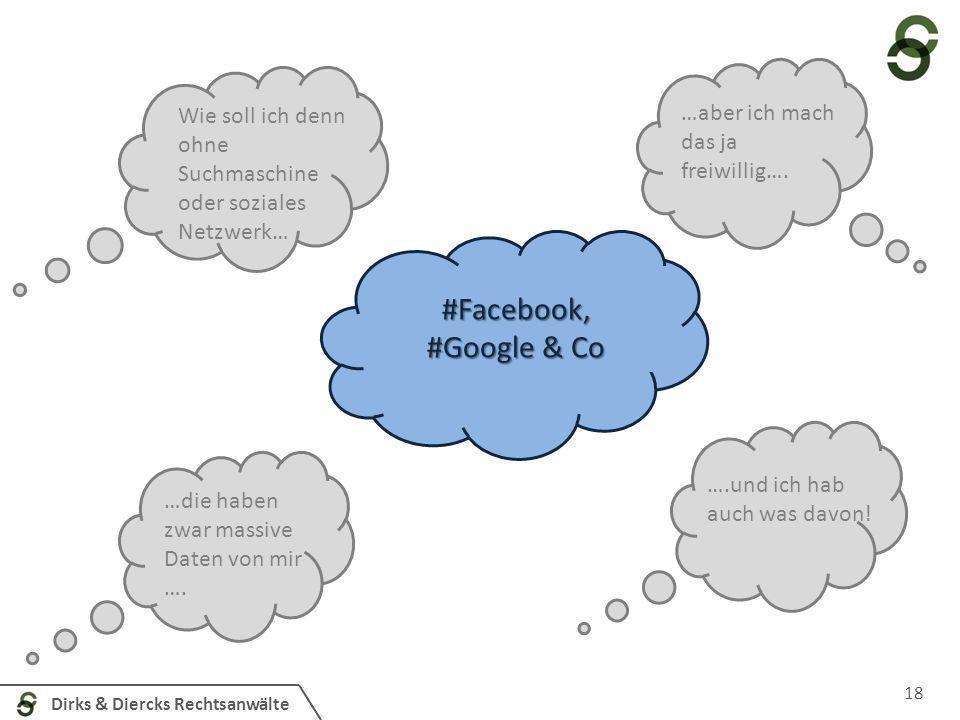 Dirks & Diercks Rechtsanwälte 18 #Facebook, #Google & Co Wie soll ich denn ohne Suchmaschine oder soziales Netzwerk… …aber ich mach das ja freiwillig…