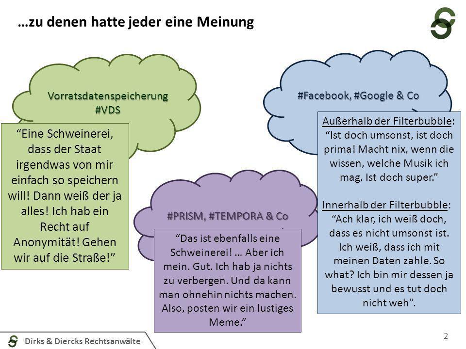 Dirks & Diercks Rechtsanwälte Es waren einmal drei Datenwölkchen…. 2 Vorratsdatenspeicherung#VDS #PRISM, #TEMPORA & Co #Facebook, #Google & Co Eine Sc