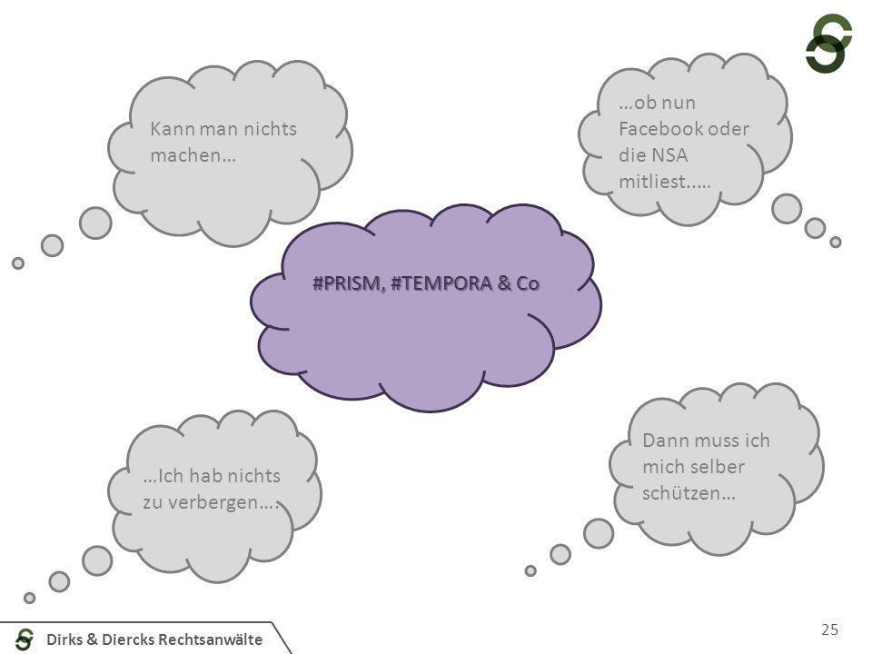 Dirks & Diercks Rechtsanwälte 25 #PRISM, #TEMPORA & Co Kann man nichts machen… …ob nun Facebook oder die NSA mitliest..… …Ich hab nichts zu verbergen…