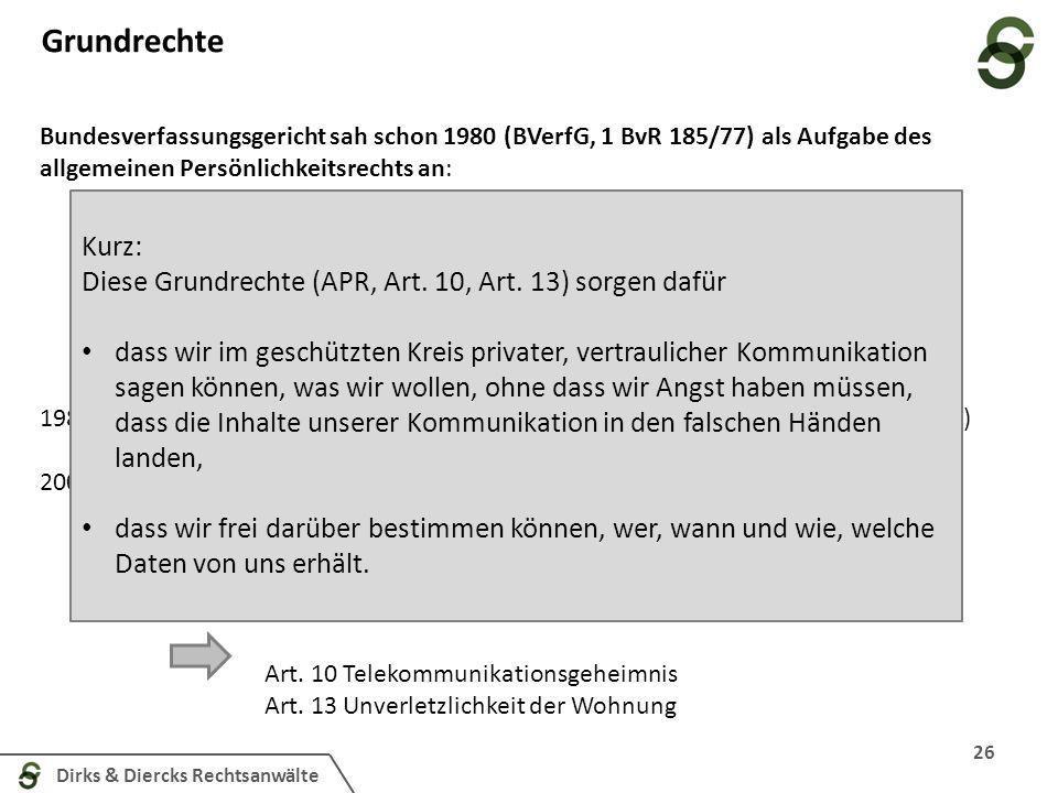 Dirks & Diercks Rechtsanwälte Grundrechte 26 die engere persönliche Lebenssphäre und die Erhaltung ihrer Grundbedingungen zu gewährleisten, [...]; die
