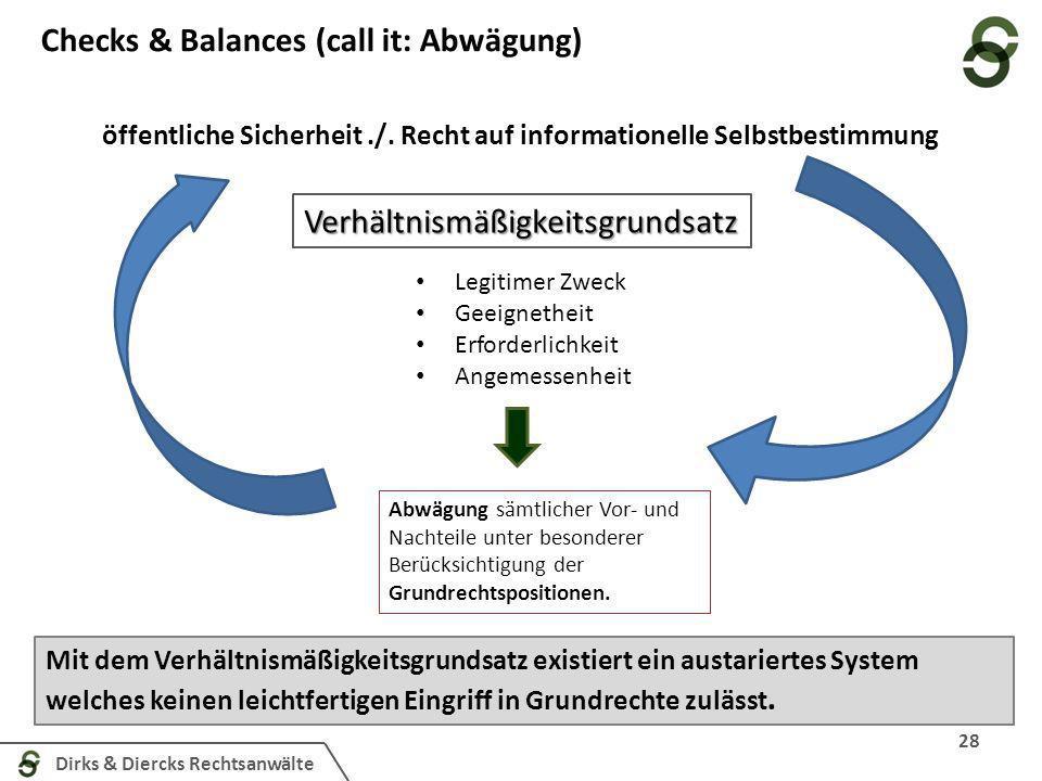 Dirks & Diercks Rechtsanwälte Checks & Balances (call it: Abwägung) 28 öffentliche Sicherheit./. Recht auf informationelle Selbstbestimmung Verhältnis