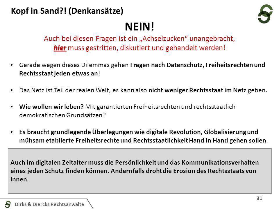 Dirks & Diercks Rechtsanwälte 31 Kopf in Sand?! (Denkansätze) NEIN! Auch bei diesen Fragen ist ein Achselzucken unangebracht, hier hier muss gestritte