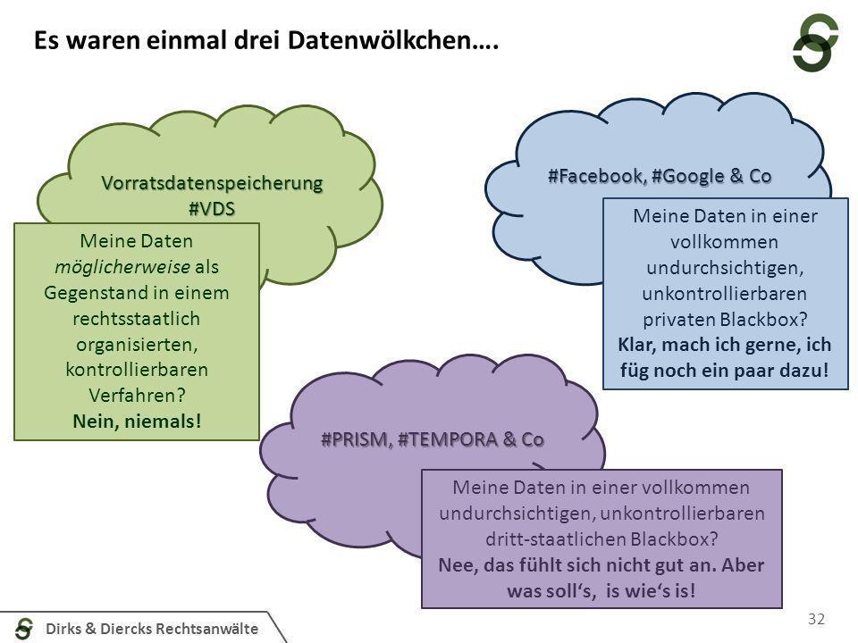 Dirks & Diercks Rechtsanwälte Es waren einmal drei Datenwölkchen…. 32 Vorratsdatenspeicherung#VDS #PRISM, #TEMPORA & Co #Facebook, #Google & Co Meine