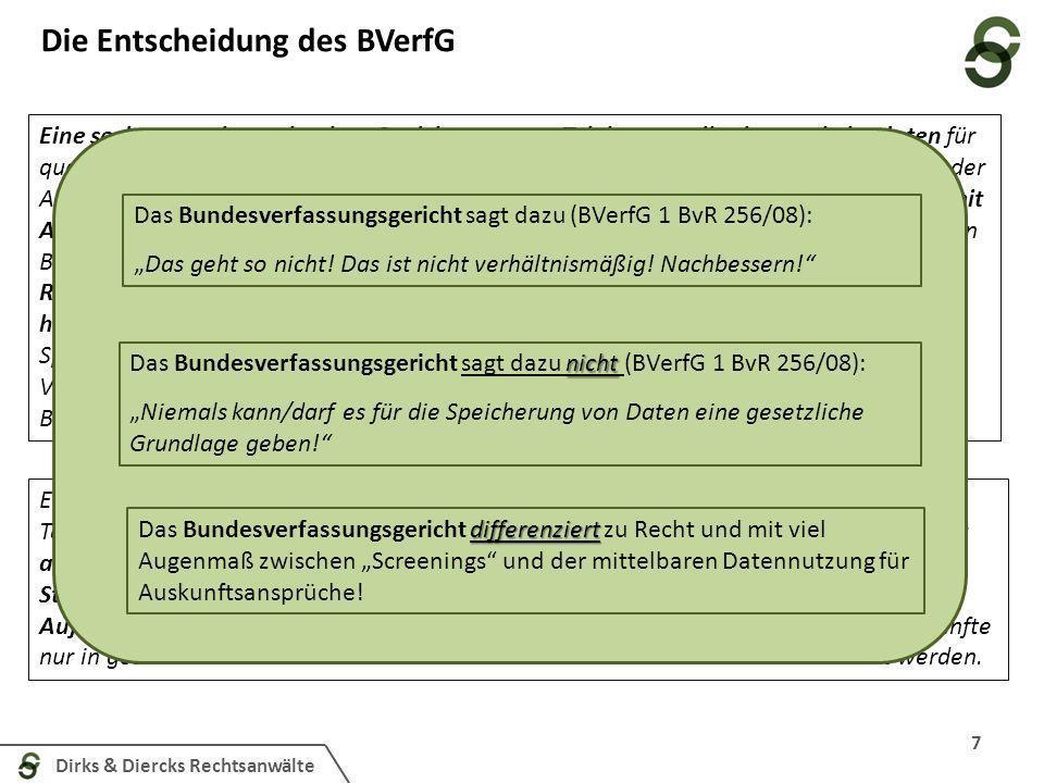 Dirks & Diercks Rechtsanwälte Die Entscheidung des BVerfG 7 Eine sechsmonatige anlasslose Speicherung von Telekommunikationsverkehrsdaten für qualifizierte Verwendungen im Rahmen der Strafverfolgung, der Gefahrenabwehr und der Aufgaben der Nachrichtendienste, wie sie die §§113a, 113b TKG anordnen, ist danach mit Art.