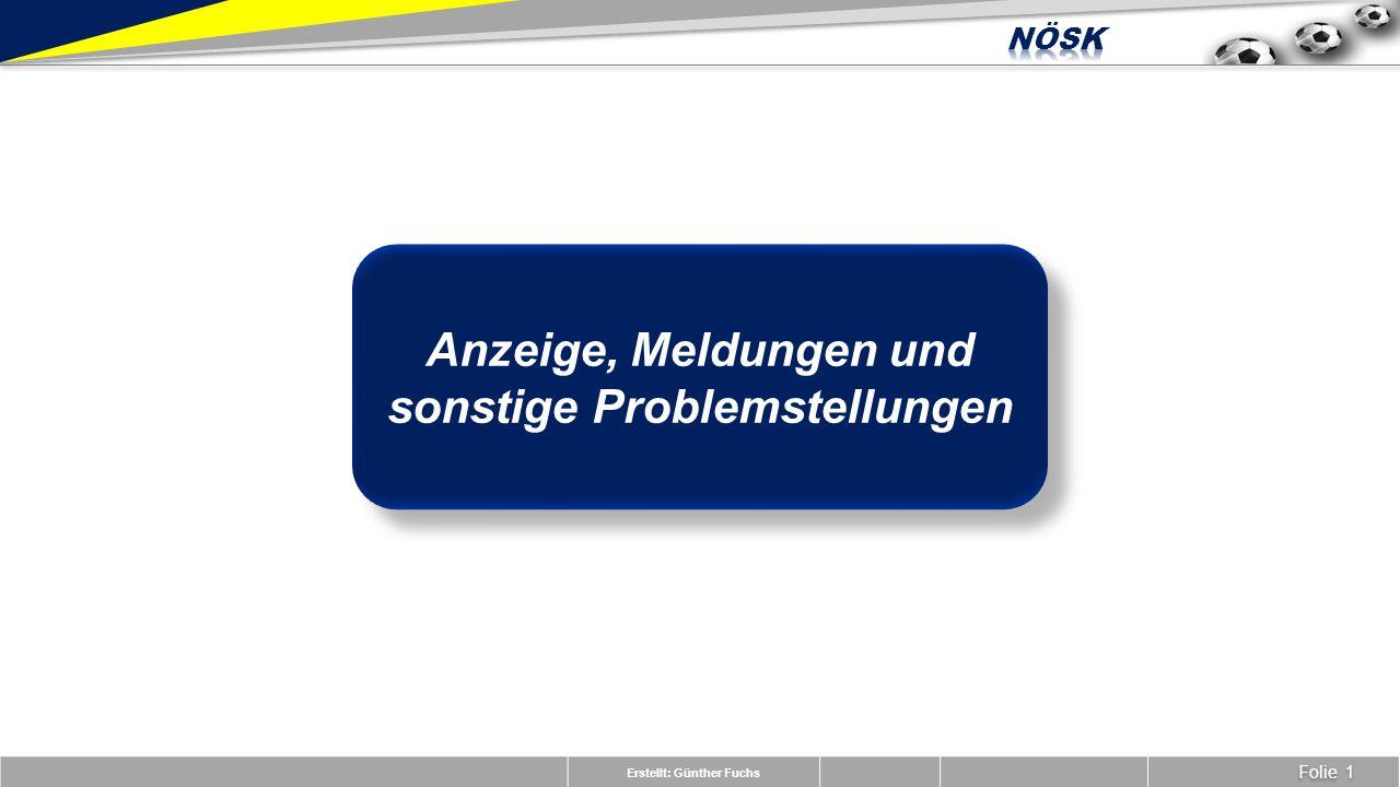 Erstellt: Günther Fuchs Folie 1 Anzeige, Meldungen und sonstige Problemstellungen