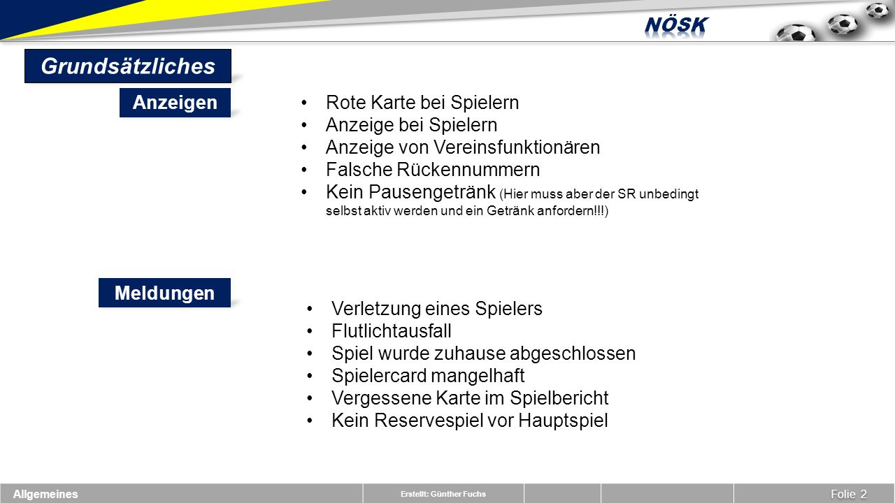 Erstellt: Günther Fuchs Spielbericht Übersicht Folie 3 Nach dem Spiel
