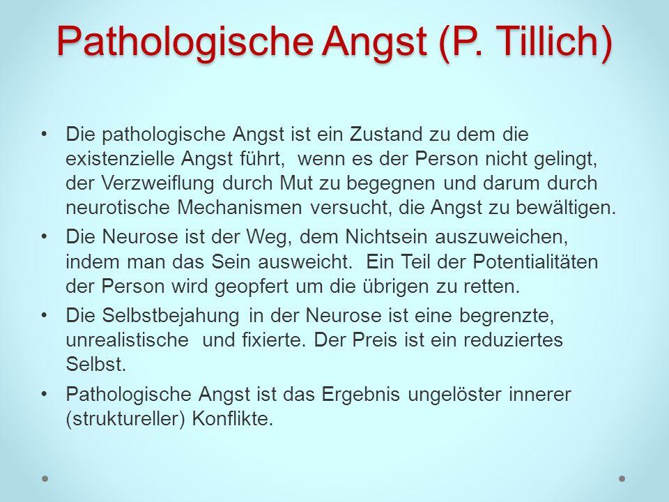 Pathologische Angst (P. Tillich) Die pathologische Angst ist ein Zustand zu dem die existenzielle Angst führt, wenn es der Person nicht gelingt, der V