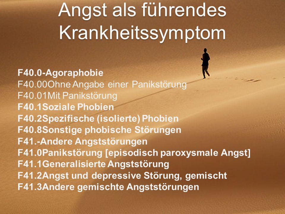 Angst als führendes Krankheitssymptom F40.0-Agoraphobie F40.00Ohne Angabe einer Panikstörung F40.01Mit Panikstörung F40.1Soziale Phobien F40.2Spezifis