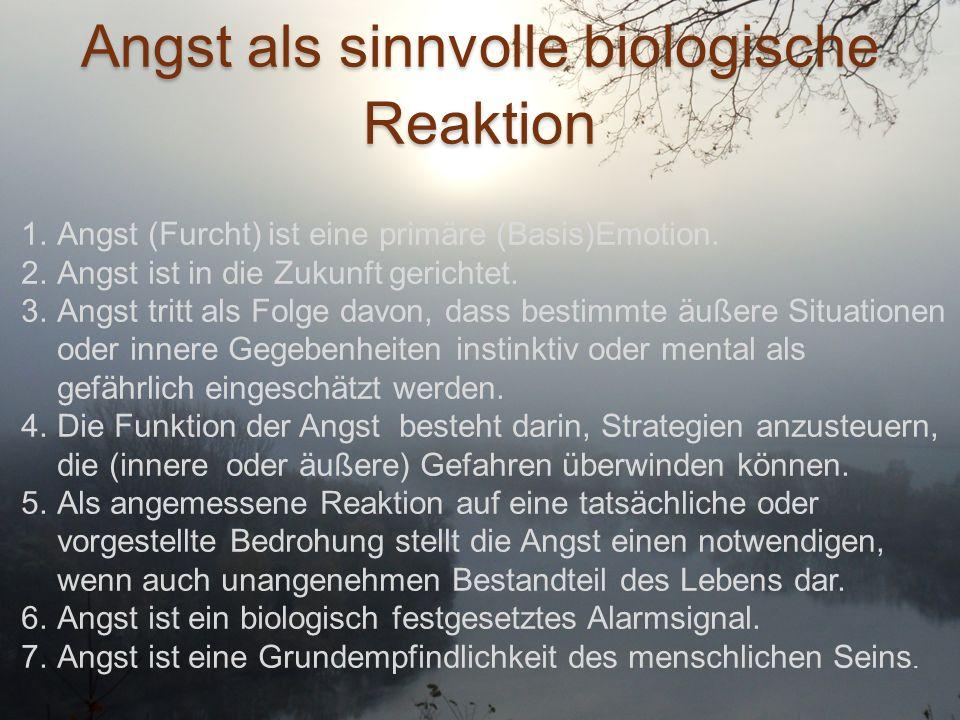 Angst als sinnvolle biologische Reaktion 1.Angst (Furcht) ist eine primäre (Basis)Emotion. 2.Angst ist in die Zukunft gerichtet. 3.Angst tritt als Fol