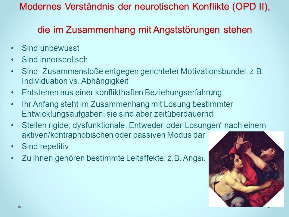 Modernes Verständnis der neurotischen Konflikte (OPD II), die im Zusammenhang mit Angststörungen stehen Sind unbewusst Sind innerseelisch Sind Zusamme