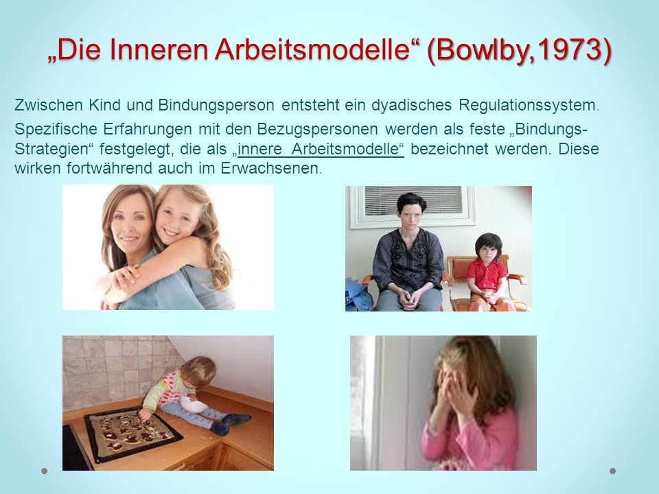 Die Inneren Arbeitsmodelle (Bowlby,1973) Zwischen Kind und Bindungsperson entsteht ein dyadisches Regulationssystem. Spezifische Erfahrungen mit den