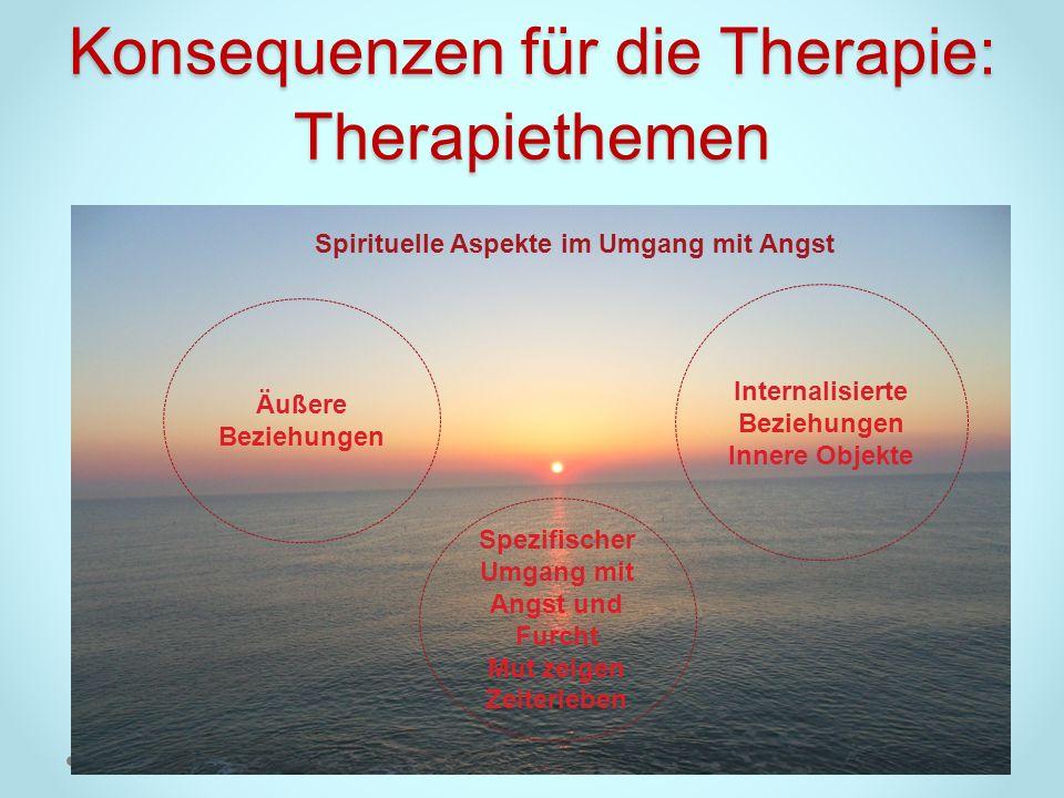 Konsequenzen für die Therapie: Therapiethemen Äußere Beziehungen Internalisierte Beziehungen Innere Objekte Spezifischer Umgang mit Angst und Furcht M