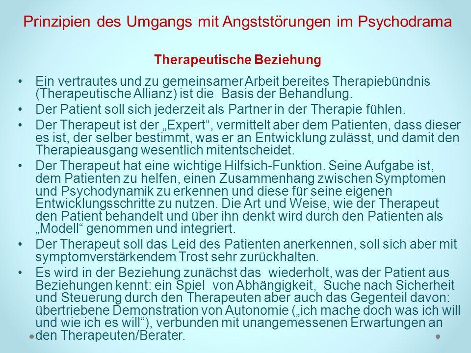 Prinzipien des Umgangs mit Angststörungen im Psychodrama Therapeutische Beziehung Ein vertrautes und zu gemeinsamer Arbeit bereites Therapiebündnis (T
