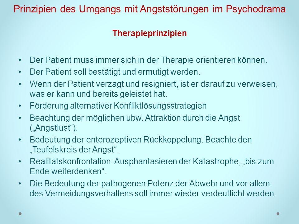 Prinzipien des Umgangs mit Angststörungen im Psychodrama Therapieprinzipien Der Patient muss immer sich in der Therapie orientieren können. Der Patien