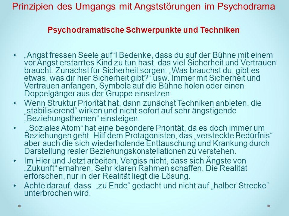 Prinzipien des Umgangs mit Angststörungen im Psychodrama Psychodramatische Schwerpunkte und Techniken Angst fressen Seele auf! Bedenke, dass du auf de