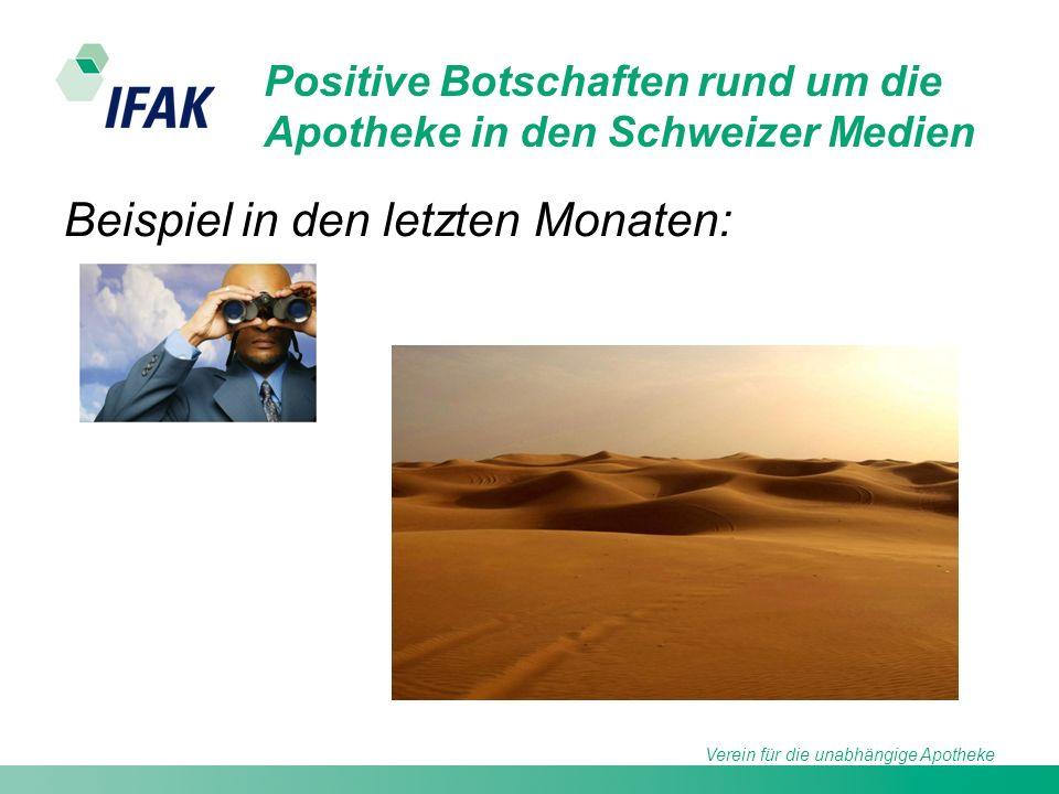 Verein für die unabhängige Apotheke Positive Botschaften rund um die Apotheke in den Schweizer Medien Beispiel in den letzten Monaten: