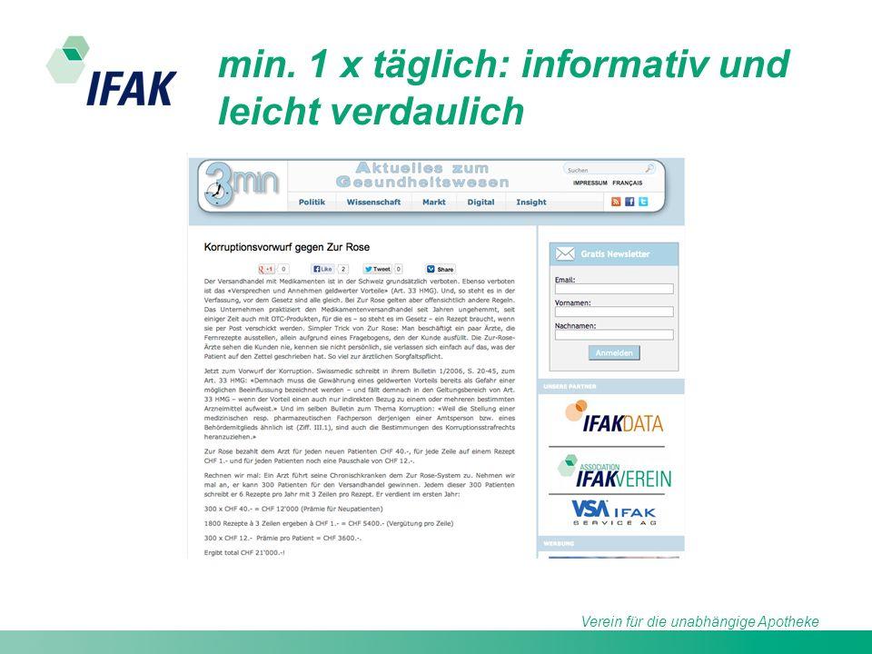 Verein für die unabhängige Apotheke min. 1 x täglich: informativ und leicht verdaulich