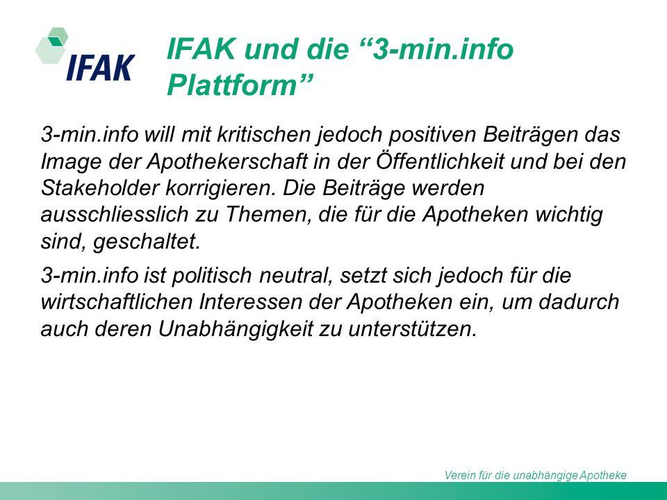 Verein für die unabhängige Apotheke IFAK und die 3-min.info Plattform 3-min.info will mit kritischen jedoch positiven Beiträgen das Image der Apothekerschaft in der Öffentlichkeit und bei den Stakeholder korrigieren.