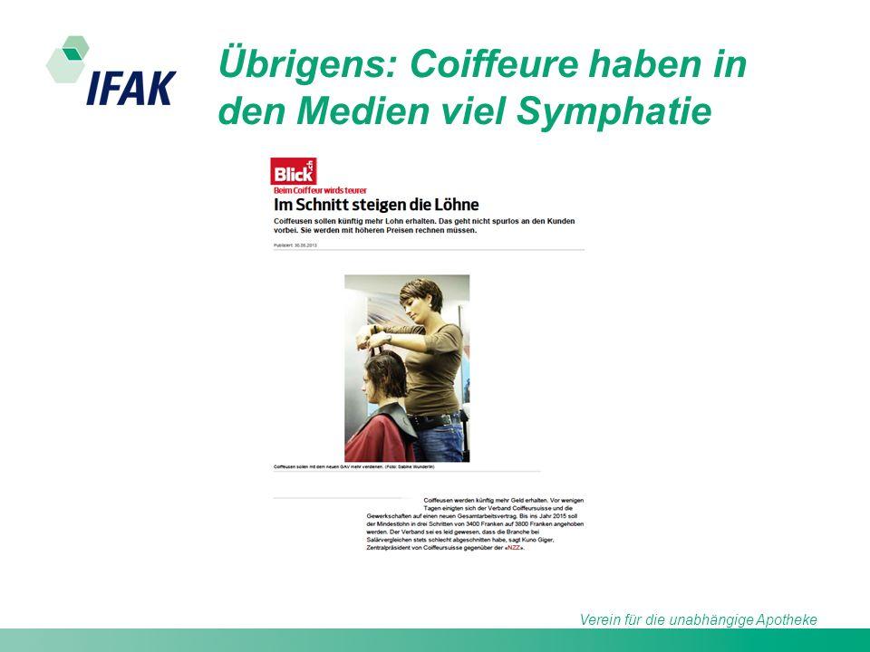 Verein für die unabhängige Apotheke Übrigens: Coiffeure haben in den Medien viel Symphatie