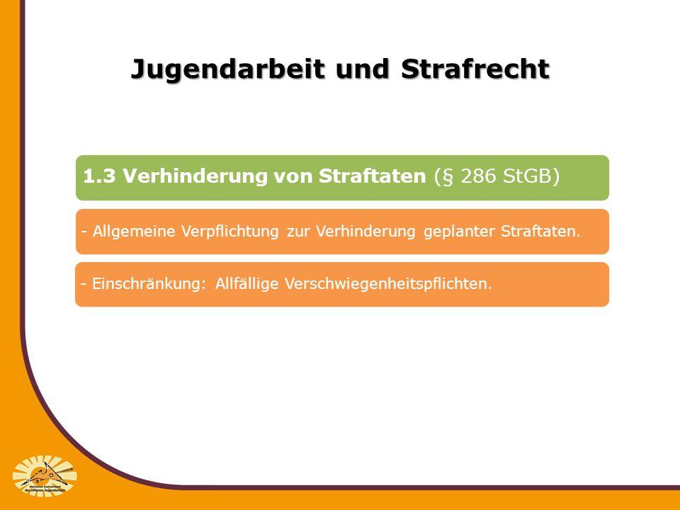 Jugendarbeit und Strafrecht 1.3 Verhinderung von Straftaten (§ 286 StGB) - Allgemeine Verpflichtung zur Verhinderung geplanter Straftaten.- Einschränk