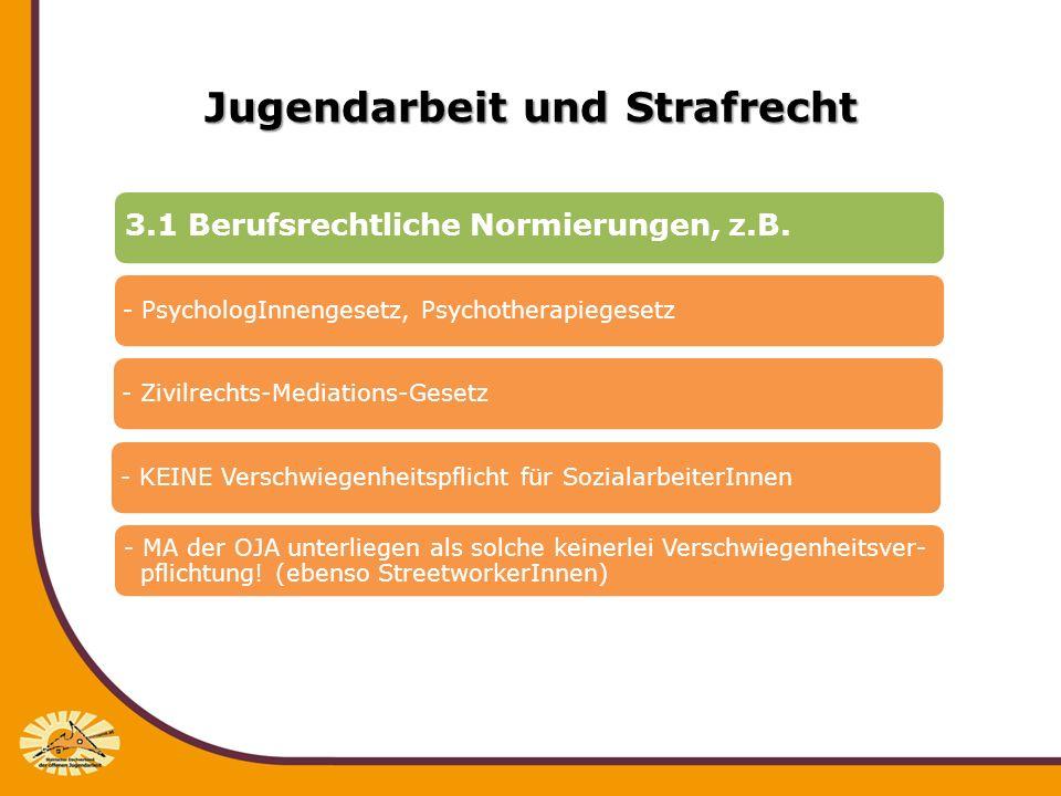 Jugendarbeit und Strafrecht 3.1 Berufsrechtliche Normierungen, z.B. - PsychologInnengesetz, Psychotherapiegesetz- Zivilrechts-Mediations-Gesetz- KEINE