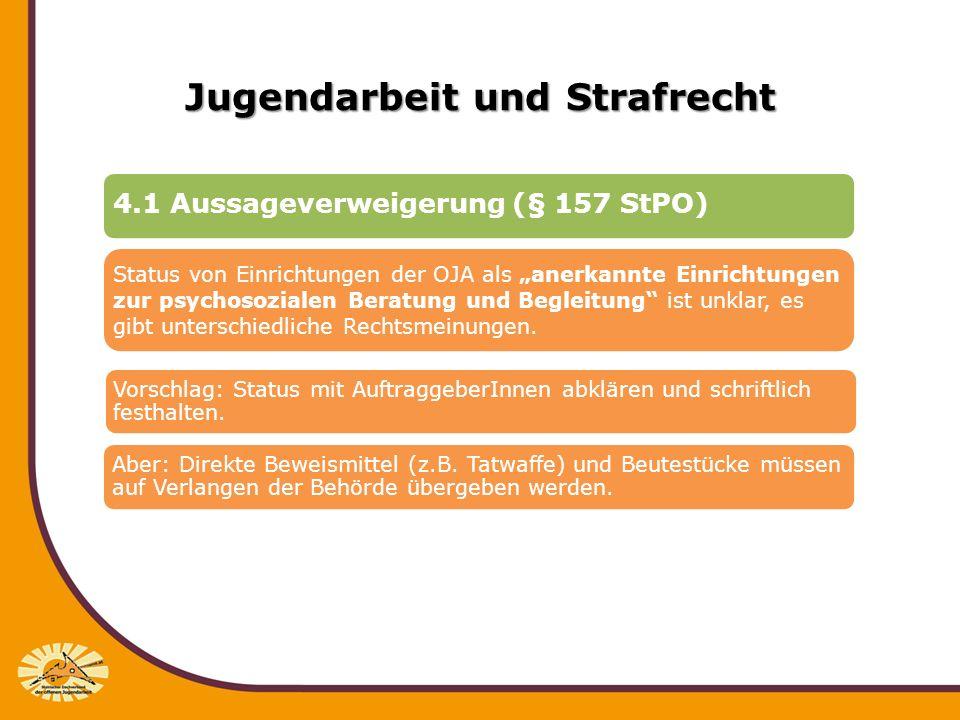 Jugendarbeit und Strafrecht 4.1 Aussageverweigerung (§ 157 StPO) Status von Einrichtungen der OJA als anerkannte Einrichtungen zur psychosozialen Bera